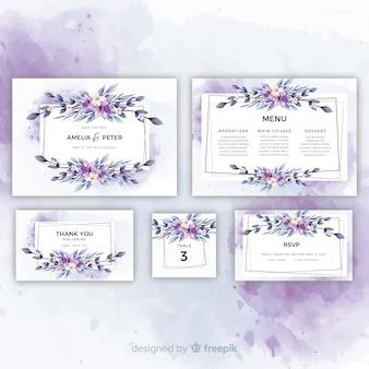 Mooie bloemenhuwelijksuitnodigingen ingesteld