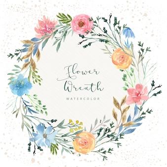 Mooie bloemenkrans cirkel aquarel