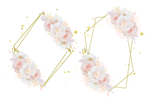 Mooie bloemenkrans met aquarel roze rozenorchidee en anemoonbloem