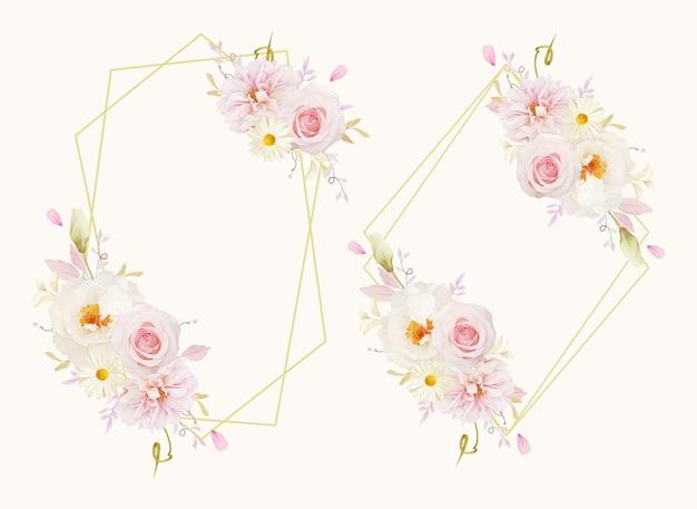 Mooie bloemenkrans met dahlia van waterverf roze rozen en witte pioen