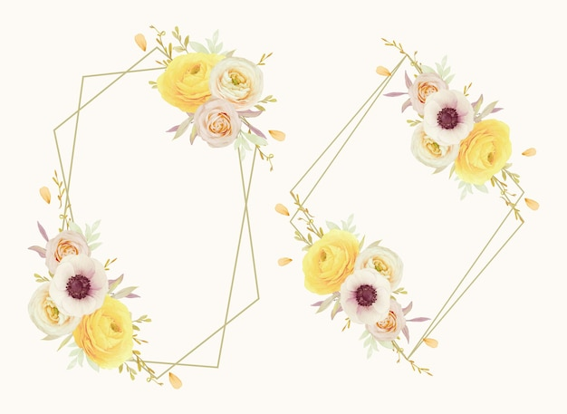Mooie bloemenkrans met ranonkel van waterverfrozen en anemoonbloemen