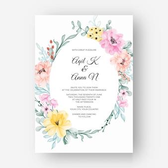 Mooie bloemenlijst rond met kleur pastel roze geel
