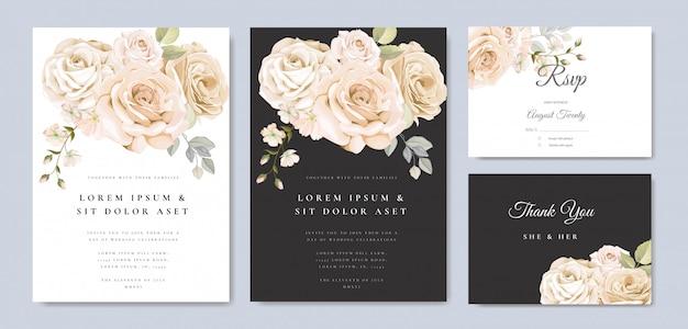 Mooie bloemenlijsthuwelijksuitnodiging
