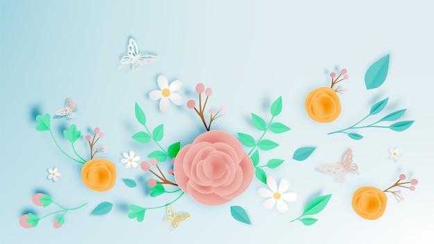 Mooie bloementocument kunst met vlinder vectorillustation