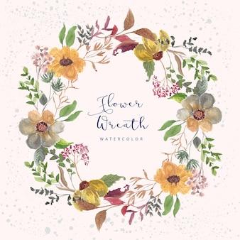 Mooie bloementuin aquarel krans