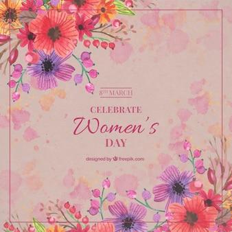 Mooie bloemrijke vintage vrouw dag achtergrond