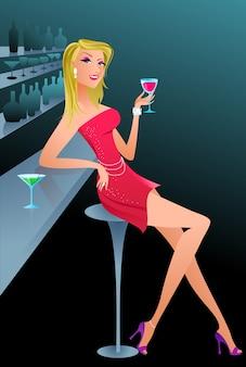 Mooie blonde vrouw in een bar