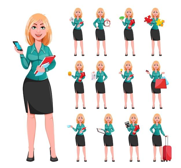 Mooie blonde zakenvrouw stripfiguur