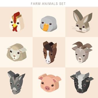 Mooie boerderijdieren instellen 3d isometrische infographic