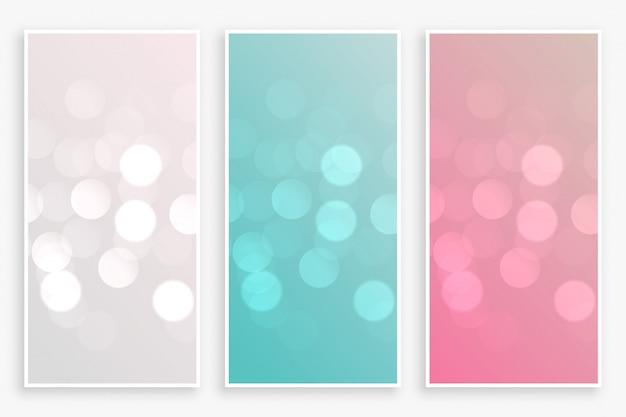 Mooie bokeh banners ingesteld in drie kleuren