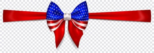 Mooie boog in de kleuren van de vlag van de v.s. met horizontaal lint met schaduw op transparante achtergrond. transparantie alleen in vectorformaat