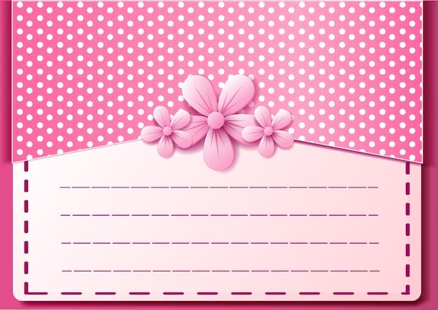 Mooie brief en bloem die op roze kleuren achtergrondgroetkaart vallen