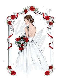 Mooie bruid in witte jurk