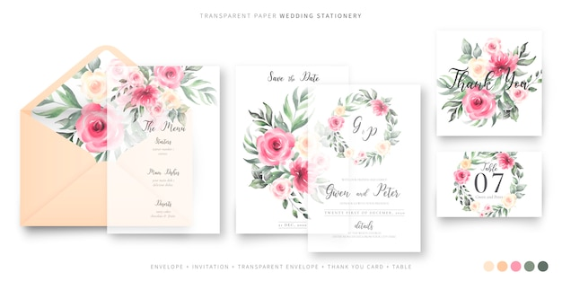 Mooie bruiloft briefpapier sjabloon