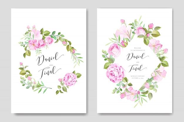 Mooie bruiloft en uitnodigingskaart met bloemen en bladeren frame