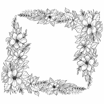 Mooie bruiloft floral frame schetsontwerp