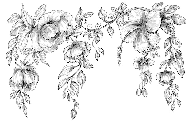 Mooie bruiloft floral schets