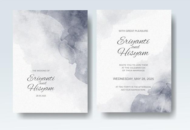 Mooie bruiloft kaart aquarel stijl Premium Vector