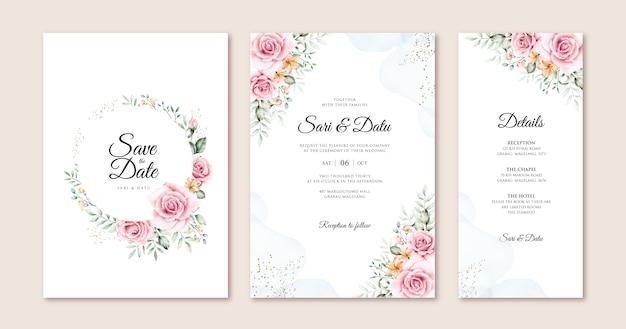 Mooie bruiloft kaart ingesteld sjabloon met bloemen en bladeren aquarel
