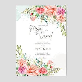 Mooie bruiloft kaart met aquarel achtergrond