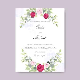 Mooie bruiloft kaart uitnodiging met bloemen thema
