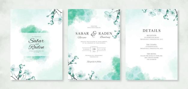 Mooie bruiloft kaart uitnodiging sjabloon met aquarel bloemen en plons