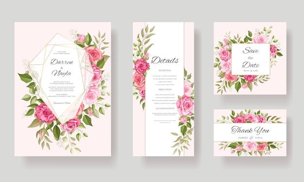 Mooie bruiloft kaartsjabloon bloemdessin