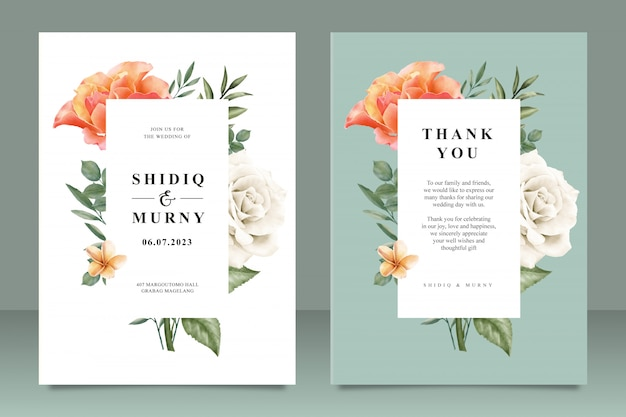 Mooie bruiloft kaartsjabloon met bloemenframe multifunctioneel