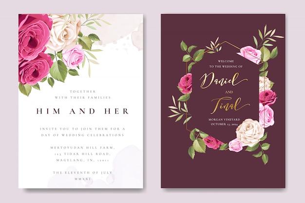 Mooie bruiloft kaartsjabloon met kleurrijke kastanjebruine rozen