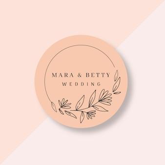 Mooie bruiloft logo in platte ontwerp