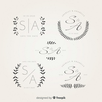 Mooie bruiloft monogram logo's