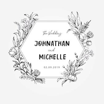 Mooie bruiloft titel voorbladsjabloon zeshoek