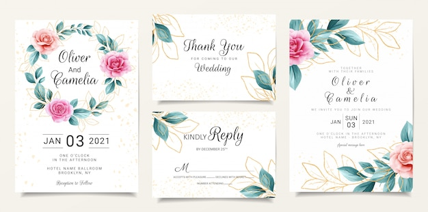Mooie bruiloft uitnodiging briefpapier sjabloon set met aquarel bloemen en glitter achtergrond