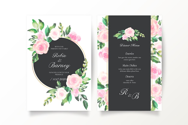 Mooie bruiloft uitnodiging en menusjabloon