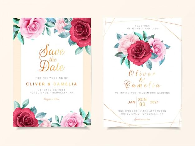 Mooie bruiloft uitnodiging kaartsjabloon ingesteld met aquarel bloemen decoratie en gouden lijn decoratie