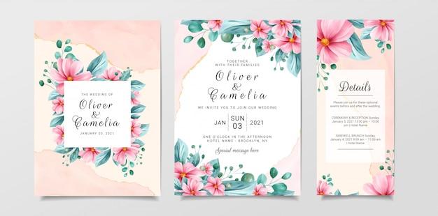 Mooie bruiloft uitnodiging kaartsjabloon ingesteld met aquarel bloemen en marmeren achtergrond