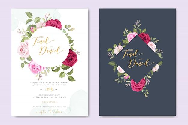 Mooie bruiloft uitnodiging kaartsjabloon ingesteld met bloemdessin