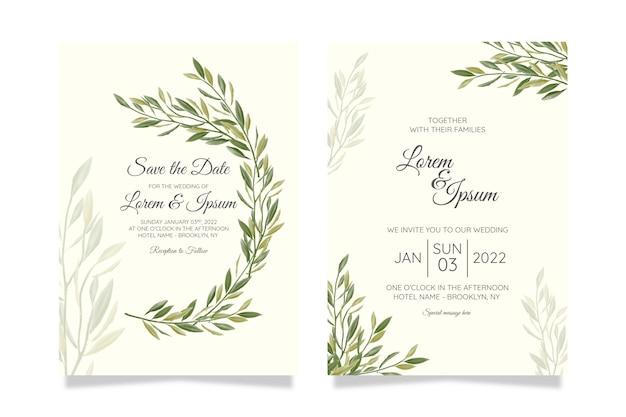 Mooie bruiloft uitnodiging kaartsjabloon ingesteld met geometrische bloemen frame