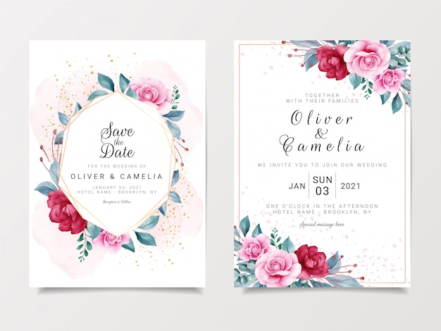Mooie bruiloft uitnodiging kaartsjabloon ingesteld met geometrische floral frame en goud glitter