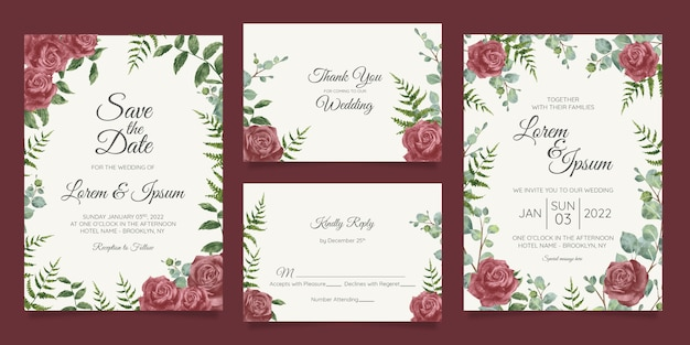 Mooie bruiloft uitnodiging kaartsjabloon ingesteld met geometrische floral frame