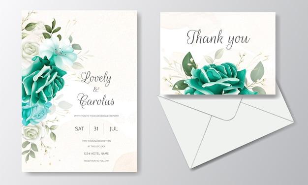Mooie bruiloft uitnodiging kaartsjabloon ingesteld met groen bloemen bladeren en gouden frame