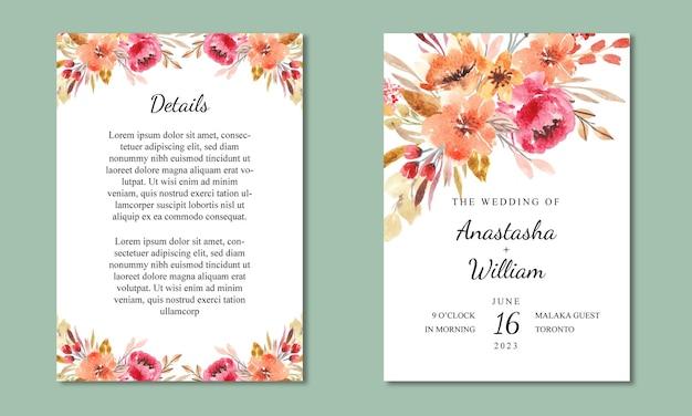 Mooie bruiloft uitnodiging kaartsjabloon met aquarel bloemen achtergrond