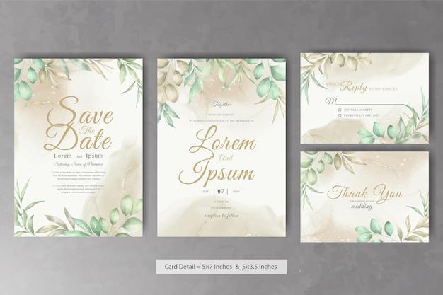 Mooie bruiloft uitnodiging kaartsjabloon met aquarel handgetekende gebladerte