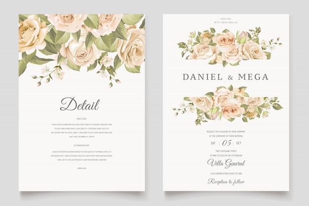 Mooie bruiloft uitnodiging kaartsjabloon met bloemen en bladeren