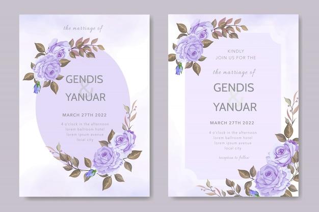 Mooie bruiloft uitnodiging kaartsjabloon paars roze bloem