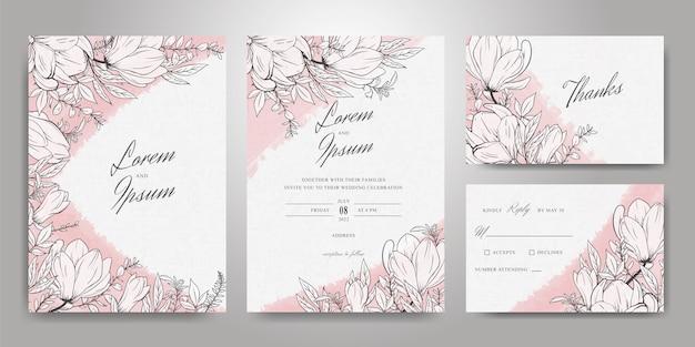 Mooie bruiloft uitnodiging kaartsjabloon set met hand getrokken bloemen en aquarel splash achtergrond
