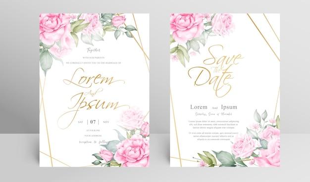 Mooie bruiloft uitnodiging kaartsjabloon set