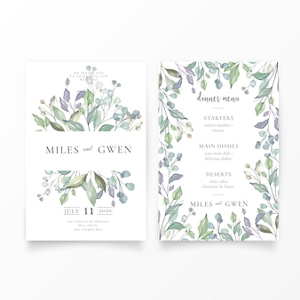 Mooie bruiloft uitnodiging & menusjabloon