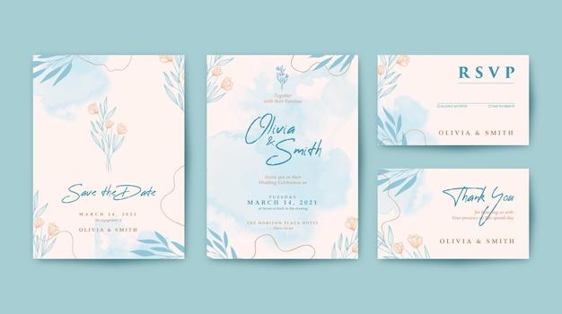 Mooie bruiloft uitnodiging met aquarel achtergrond