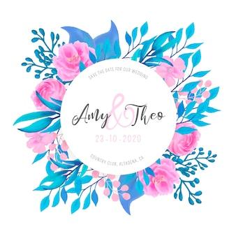 Mooie bruiloft uitnodiging met aquarel bloemen